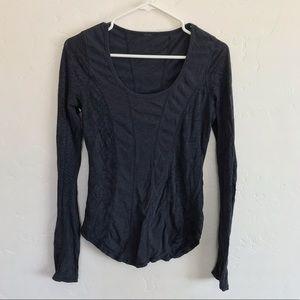 Lululemon Gray Snakeskin Print Long Sleeve Top